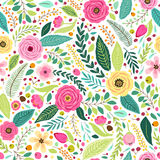 Cute seamless pattern with rustic hand drawn first spring flowers Royalty Free Stock Image