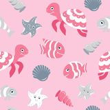 Cute seamless pattern with sea animals. For baby shower scrapbooking designs Royalty Free Stock Images