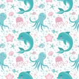 Cute seamless pattern with sea animals. Octopus, dolphin, jellyfish, shell, fish, starfish. Undersea world royalty free illustration
