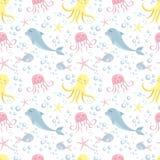 Cute seamless pattern with sea animals. Octopus, dolphin, jellyfish, shell, fish, starfish. Undersea world stock illustration