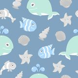 Cute seamless pattern with sea animals for scrapbooking. And birthday designs Stock Photos