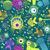 Cute seamless pattern with sea creatures. Cute seamless abstract pattern with sea creatures Royalty Free Stock Images