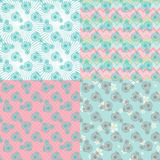 Cute seamless pattern set with retro bicycle Royalty Free Stock Photo