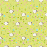 Cute seamless pattern with sheep on a flower field Royalty Free Stock Photography