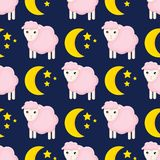 Cute seamless pattern with sheeps in the clouds stock illustration