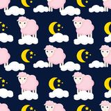 Cute seamless pattern with sheeps in the clouds royalty free illustration