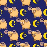Cute seamless pattern with sheeps in the clouds vector illustration