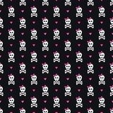 Cute seamless pattern with skulls, bows and hearts. Royalty Free Stock Photo