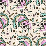 Cute seamless pattern with skulls and snakes. Stock Photos