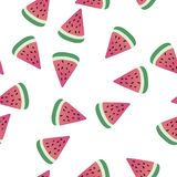 Cute seamless pattern with slices of watermelon. White background. Vector illustration vector illustration
