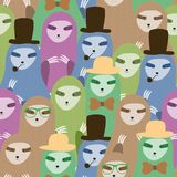 Cute seamless pattern sloths family cartoon background. Stock Images