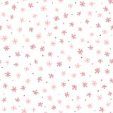 Cute seamless pattern with small flowers and round dots. Endless floral print. royalty free illustration