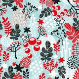 Cute seamless pattern with snow birds in crown. Stock Images