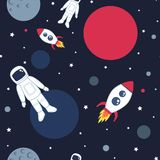Cute seamless pattern with space cosmonaut planets rockets spaceships and stars. Stock Image