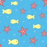 Cute seamless pattern with starfish and fish. Stock Image