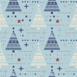 Cute seamless pattern with stars, christmas trees, snowflakes Royalty Free Stock Images