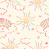 Cute seamless pattern with sun, rainbow and stars. Cute seamless pattern with sun, rainbow and stars on a cream background Stock Photos