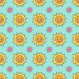 Cute seamless pattern with sun and stars. Stock Photography