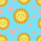 Cute seamless pattern with suns and hearts. Perfect for kids. Vector illustration.  Royalty Free Stock Photography