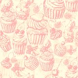 Cute seamless pattern sweet Cake Stock Photos