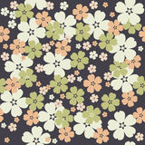 Cute seamless pattern with tender flowers on purple background Stock Images