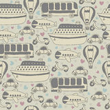 Cute seamless pattern with transport. Cartoon vector seamless tr Stock Image