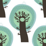 Cute seamless pattern with trees and birds Royalty Free Stock Photography