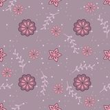 Cute seamless pattern with twigs and flowers Royalty Free Stock Images