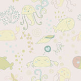 Cute seamless pattern with underwater live. Cartoon pattern with sea inhabitants: fish, crabs, jellyfish, seaweed Stock Images