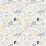 Cute seamless pattern with underwater live eps 10 Stock Images