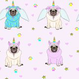 Cute seamless pattern with unicorn pug dogs, paw print, stars and hearts royalty free illustration