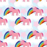 Cute seamless pattern with unicorns royalty free illustration