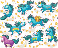 Cute seamless pattern with unicorns in the sky Stock Image