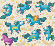 Cute seamless pattern with unicorns in the sky Stock Images