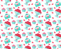 Cute seamless pattern Valentines day with coffee and cake, heart, bunch of flowers Stock Photography