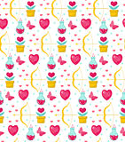 Cute seamless pattern Valentines Day with flowers, bow cupid, love potion, romance endless background, texture Stock Photo