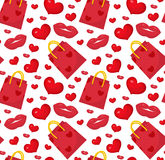 Cute seamless pattern Valentines day with gift bag, heart, kiss, lips.. Love, romance endless background, texture, wallpaper. Flat, cartoon style Vector Royalty Free Stock Photos