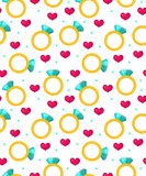 Cute seamless pattern Valentines day with jewel ring, red heart. Love, romance endless. Background, texture, wallpaper. Flat, cartoon style. Vector illustration Stock Image