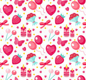 Cute seamless pattern Valentines day with strawberries, heart, flower, butterfly, ribbon. Love, romance endless background, texture, wallpaper Flat cartoon Royalty Free Stock Photography