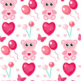 Cute seamless pattern Valentines day with teddy bear, balls, hearts. Love, romance, endless background, texture Royalty Free Stock Image