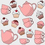 Cute seamless pattern with various cupcakes, muffins, tea, coffee pot, cups,  illustration background Stock Image