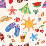 Cute seamless pattern. Vector beach pattern for summer Stock Photography