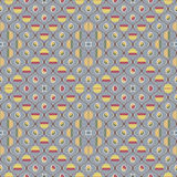 Cute seamless pattern in vintage colors. Beautiful seamless pattern in vintage colors. Gently curving lines form roundish cells filled with cute abstract figures Stock Photo