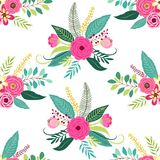 Cute seamless pattern with rustic hand drawn first spring flowers. Cute seamless pattern with vintage elements as rustic hand drawn first spring flowers for your Stock Photos