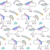 Cute seamless pattern with walking and running unicorns vector illustration