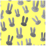 Cute seamless pattern with watercolor rabbits. Royalty Free Stock Image