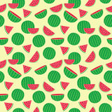 Cute seamless pattern with watermelons Royalty Free Stock Photos