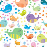 Cute seamless pattern with whales. Cartoon marine seamless pattern for childish wallpapers with whales Royalty Free Stock Photography