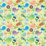 Cute seamless pattern with whales. Cartoon marine seamless pattern for childish wallpapers with whales Stock Photos