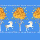 Cute seamless pattern with white unicorns, autumn trees and decorative text isolated on sky blue background in vector. Cute seamless pattern with white unicorns vector illustration